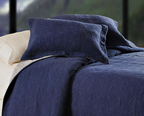 Denim Navy Blue Matelasse Quilt Coverlet