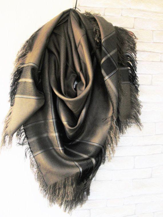 16166938f5ef6 Barley Brown Blanket Scarf Women Scarf Plaid Scarf by by Ebruk ...