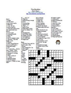 Stearswords Salutes The Beatles With These Delightful Puns About The Fab Four Free To Print Solve Or Share With Crossword Puzzles Crossword Puzzle Crossword