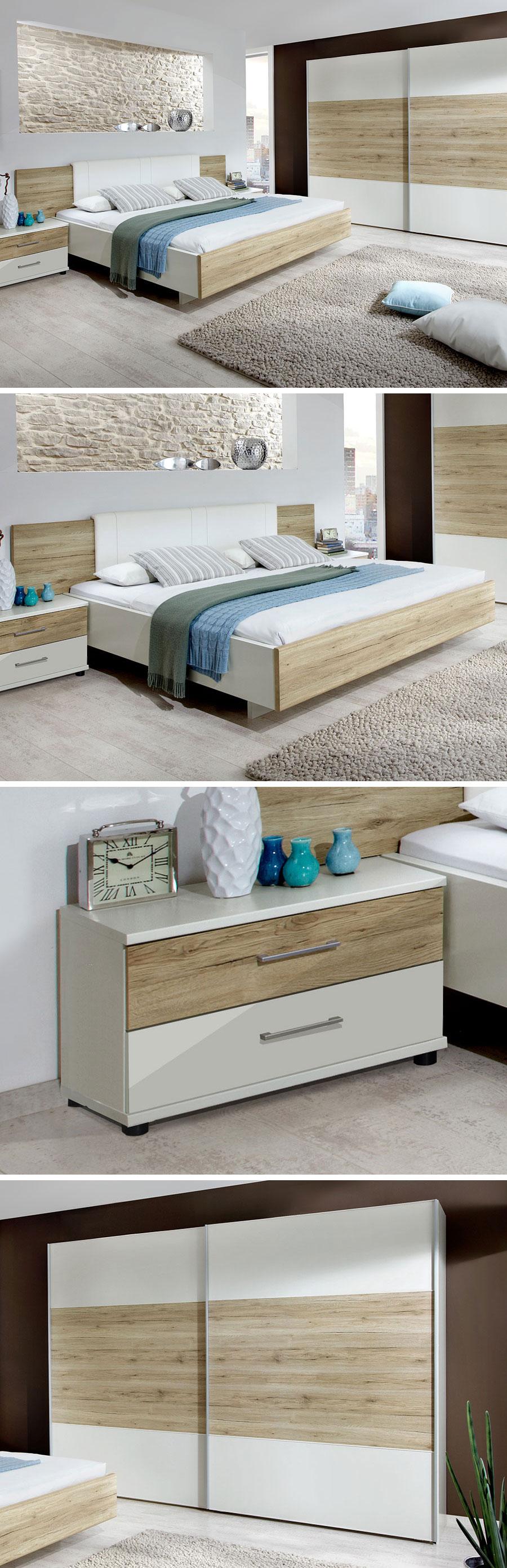 Tolles Schlafzimmer In Weiss Mit Eiche Nachbildung Betten De