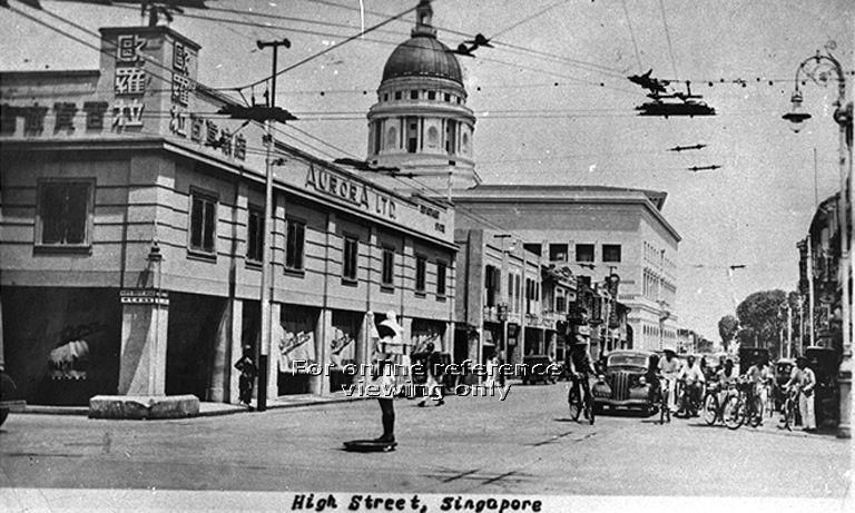 View of High Street, Singapore, with dome of Supreme Court Building