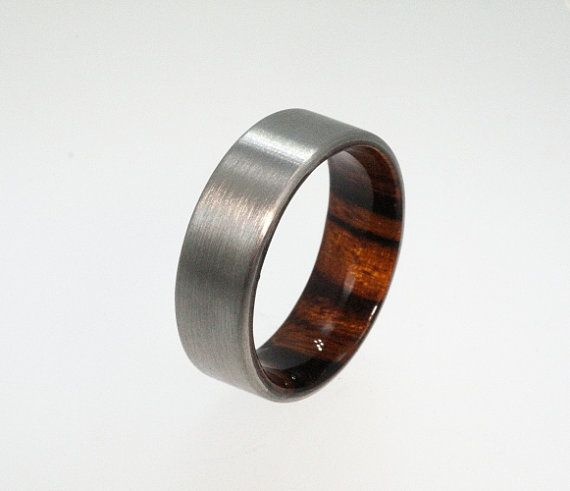 Titanium Band with Iron Wood Inner Sleeve by jewelrybyjohan ...