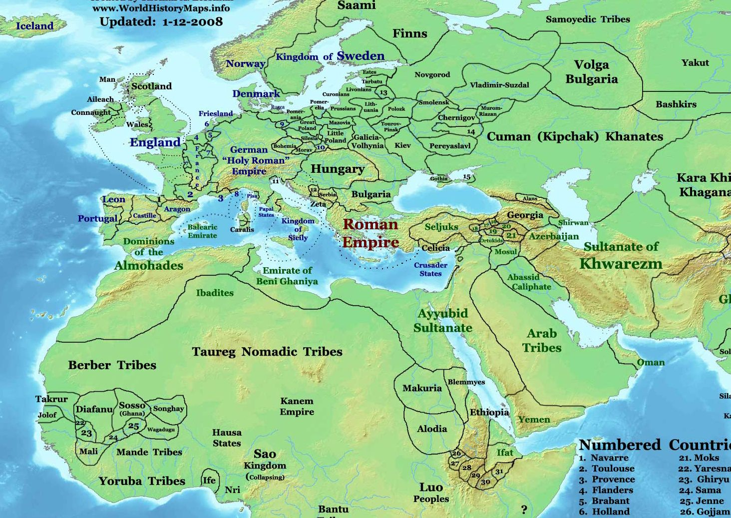 Africa And Near East In 1200 Ad Showing Kingdom Of Wagadugu And