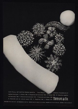 1968 Tiffany Co Christmas Santa Hat Of Jewelry Diamonds Vintage Ad