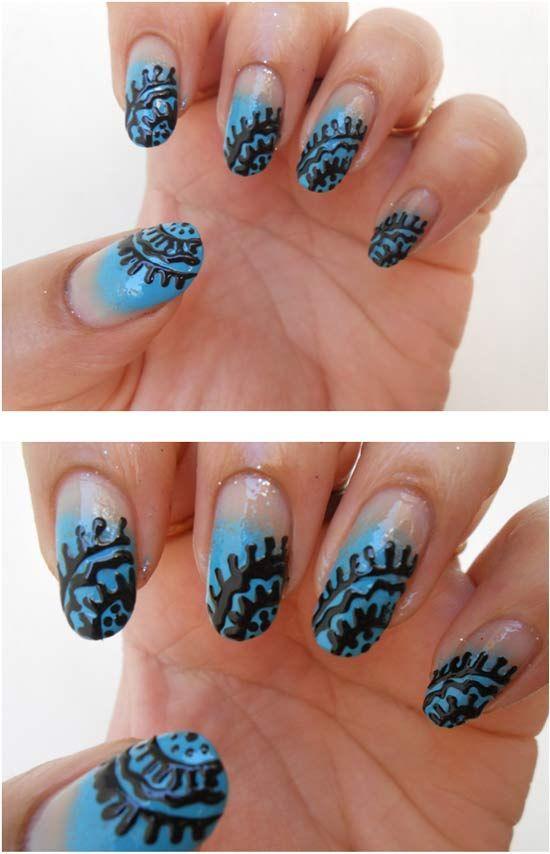 Tutorial for using art pens....black polish for nail art | Nail Art ...