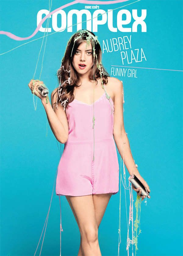 Complex magazine editorial with actress/comedian Aubrey Plaza - few images with props being crucial for the humour...