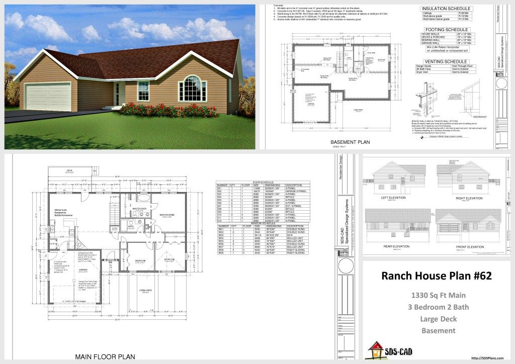 1330 Sq Ft House Design $10 House Plans Http://housecabin.com