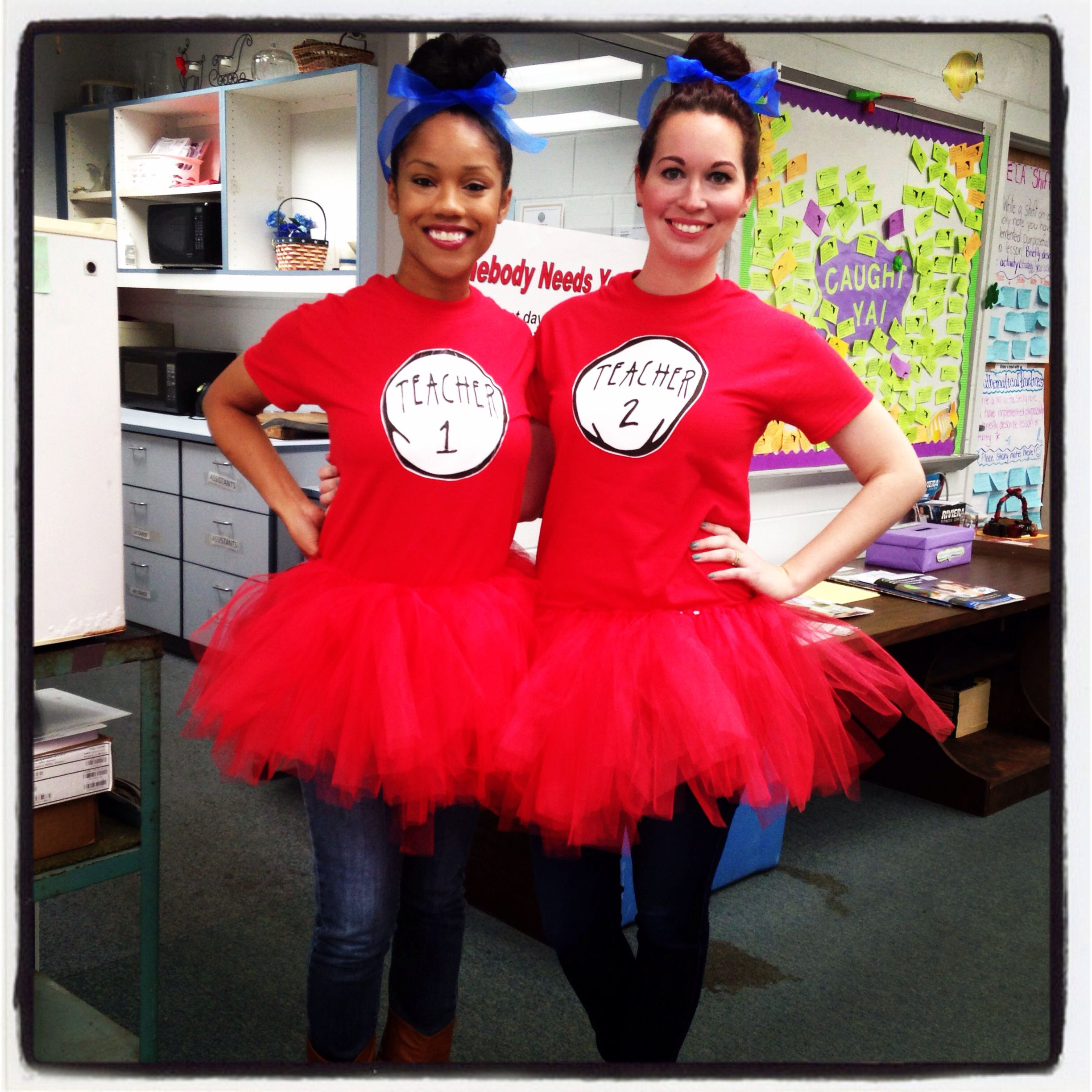 Teacher 1   Teacher 2  Thing 1   Thing 2 costumes for Dr. Seuss Birthday  Read Across America 5a39b185d6