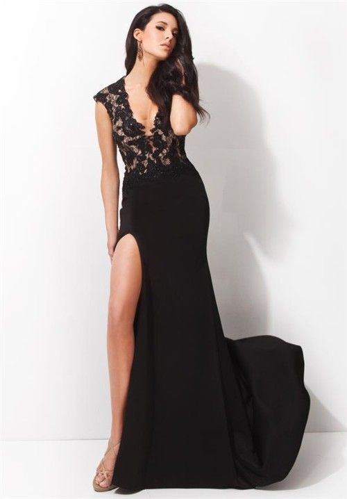 Fitted Deep V Neck Cap Sleeve High Slit Long Black Chiffon Lace Evening  Prom Dress c0df5f7e2be5