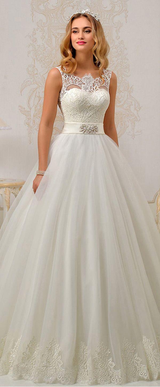 Fantastic tulle u satin bateau neckline aline wedding dresses with