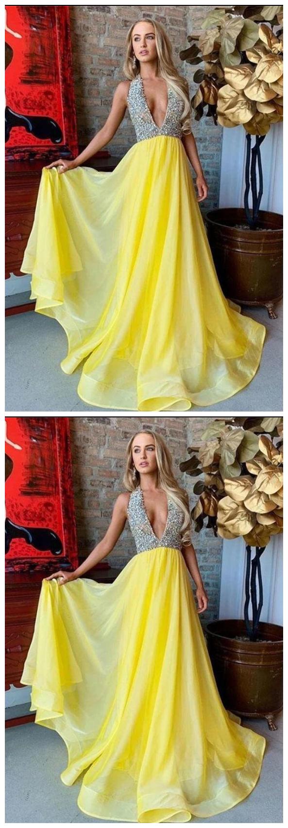 Yellow V Neck Rhinestone Sweep Train Prom Dress In 2021 Prom Dresses Yellow Sweep Train Prom Dress Plus Size Prom Dresses [ 1700 x 593 Pixel ]