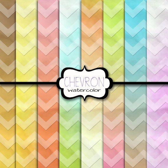 Chevron Digital Paper Watercolor Chevron Digital Paper Digital Ombre Chevron Paper Crinkled Watercolor Chevron Paper