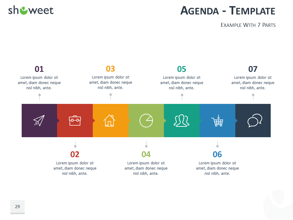 Agenda Template For Powerpoint And Keynote  Charts  Diagrams For