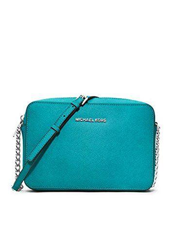 31e457aae Michael Kors Jet Set Travel Large Tile Blue Leather Crossbody Handbag