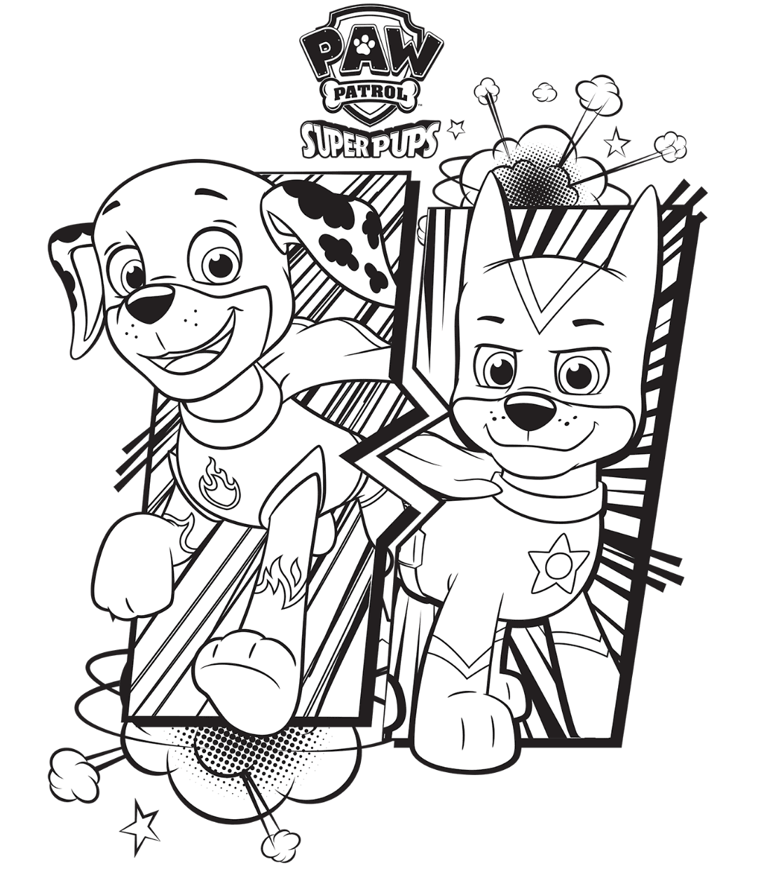 PAW Patrol Super Pups Chase And Marshall Colouring Page