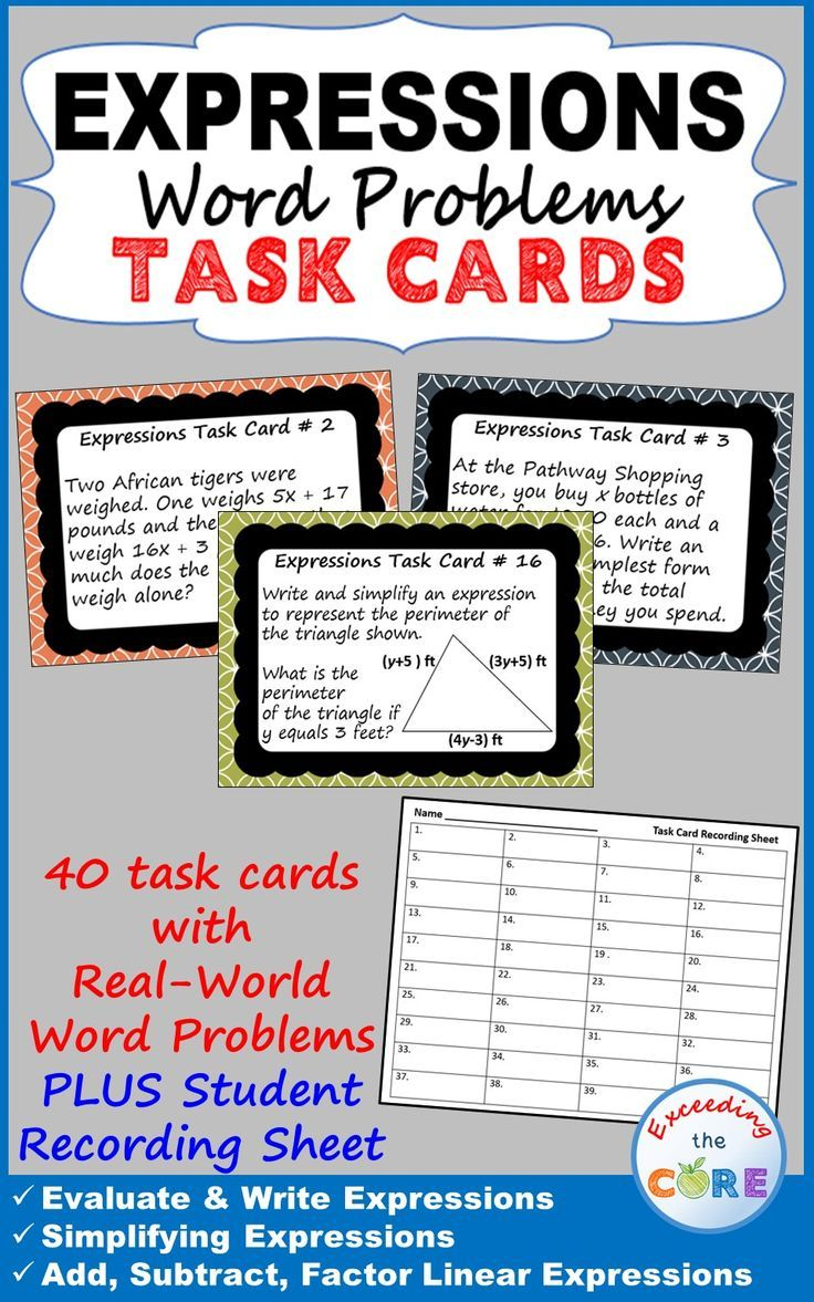 Expressions Word Problems Task Cards 40 Cards Word Problems Word Problems Task Cards Task Cards