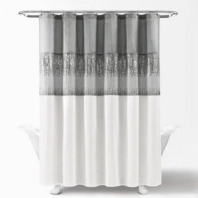 Night Sky Shower Curtain Gray White Lush Decor Modern Shower