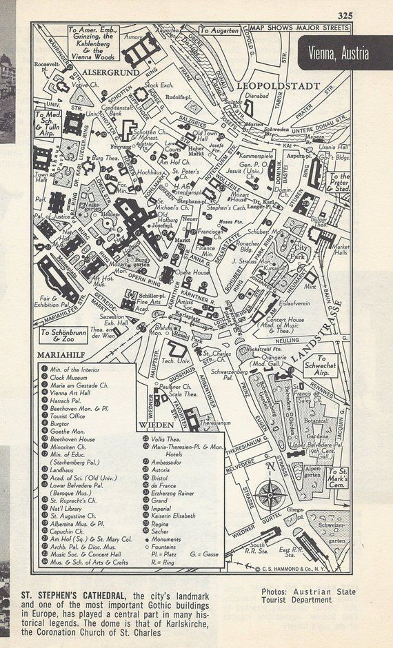 Map Of Europe 1950s.Vienna Austria Map City Map Street Map 1950s Europe Black And