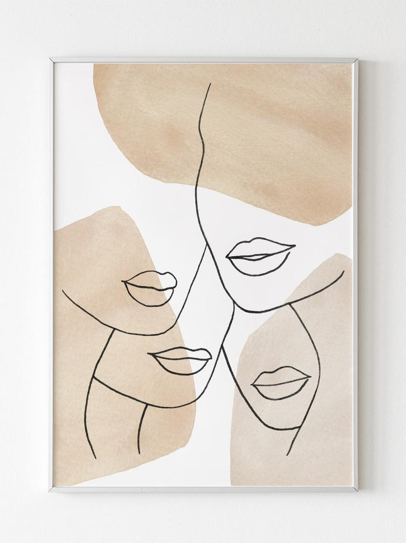 Abstract Printable Wall Art Woman Print Downloadable Neutral Wall Decor Instant Download Abstract Line Art Line Art Drawings Art Painting