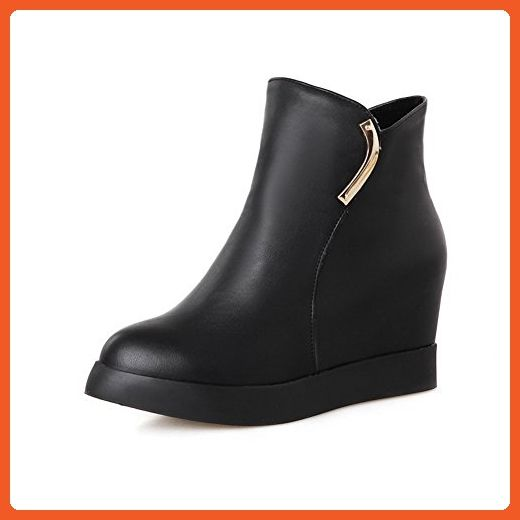 Women's Kitten-Heels Solid Round Closed Toe Frosted Zipper Boots Black 40