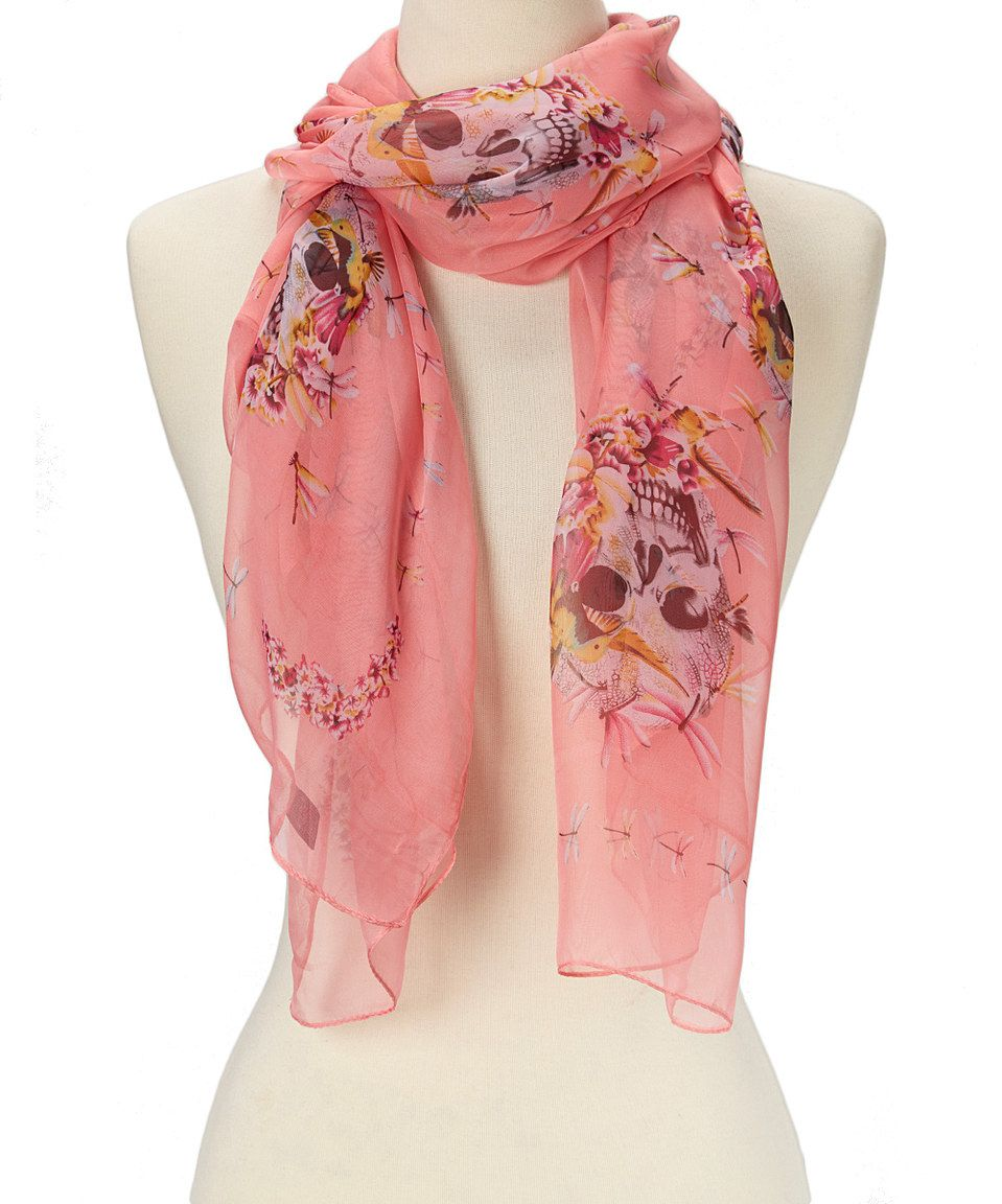 Another great find on #zulily! Pink Sheer Skull Scarf by J & X International #zulilyfinds