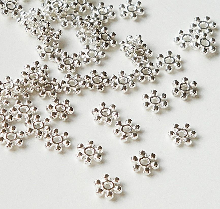 100pcs 4mm Silver Daisy Flower Spacer Beads DIY Crafts for necklace bracelet