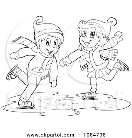 Ice Skating Drawings Clipart Outlined Boy And Girl Ice Skating Royalty Free Vector Drawings Of Friends Free Vector Illustration Drawing Clipart