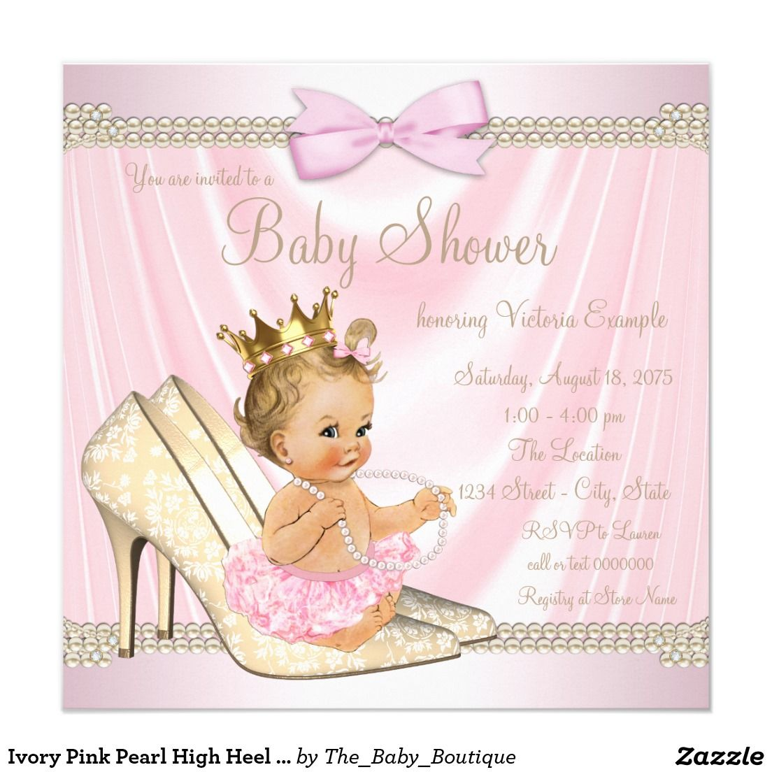 Ivory Pink Pearl High Heel Baby Shower Invitation | Pink Gold Baby ...