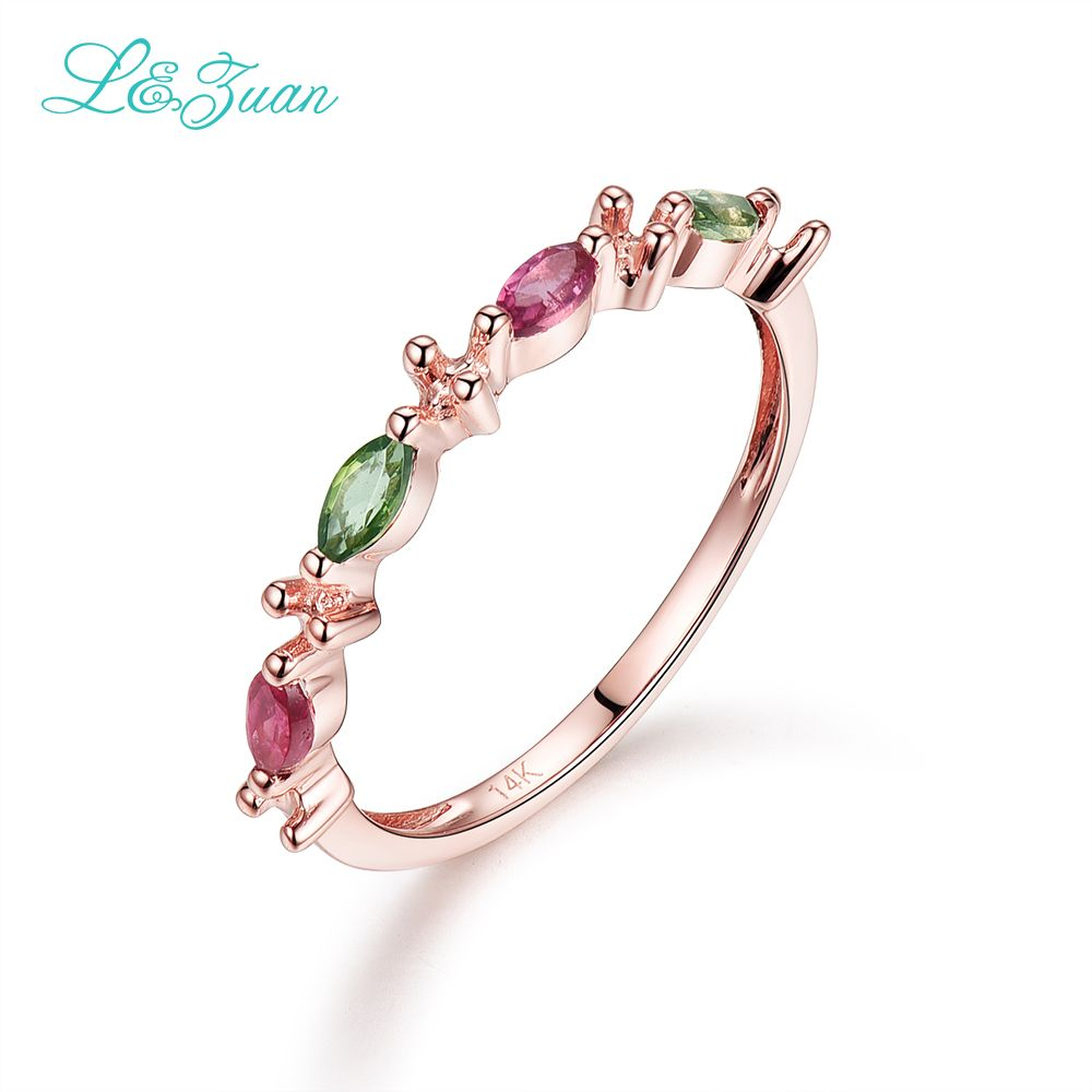 I&zuan Tourmaline 14K Rose Gold Rings For Woman Natural 0.06ct ...