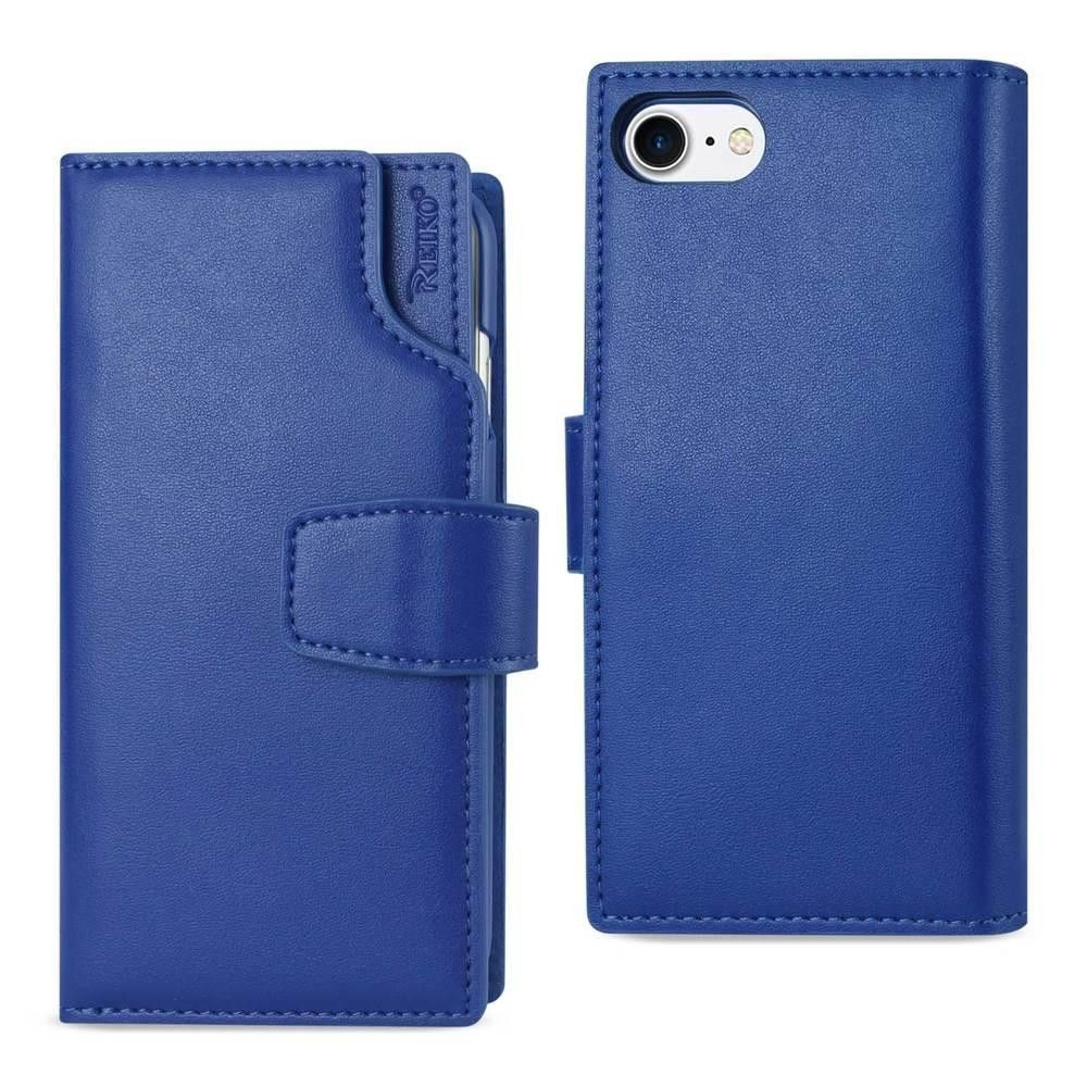 Reiko REIKO IPHONE 7 GENUINE LEATHER WALLET CASE WITH OPEN THUMB CUT IN ULTRAMARINE