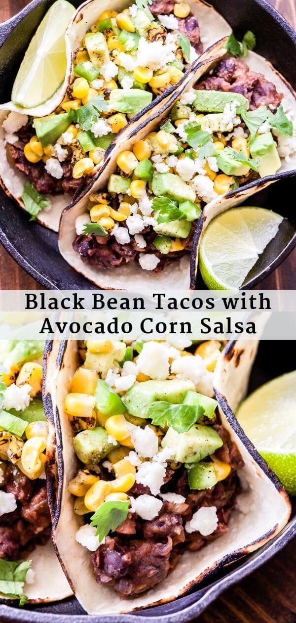 Black Bean Tacos with Avocado Corn Salsa