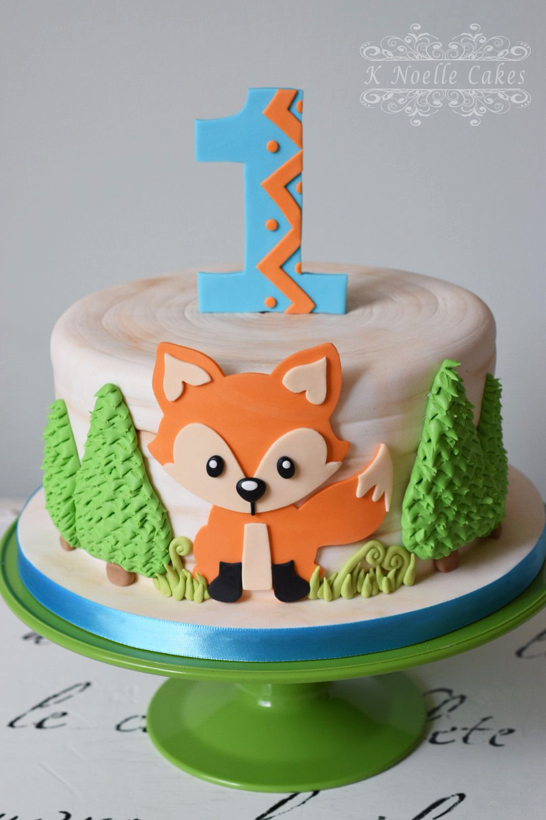Fox theme 1st Birthday cake by K Noelle Cakes Baby boy