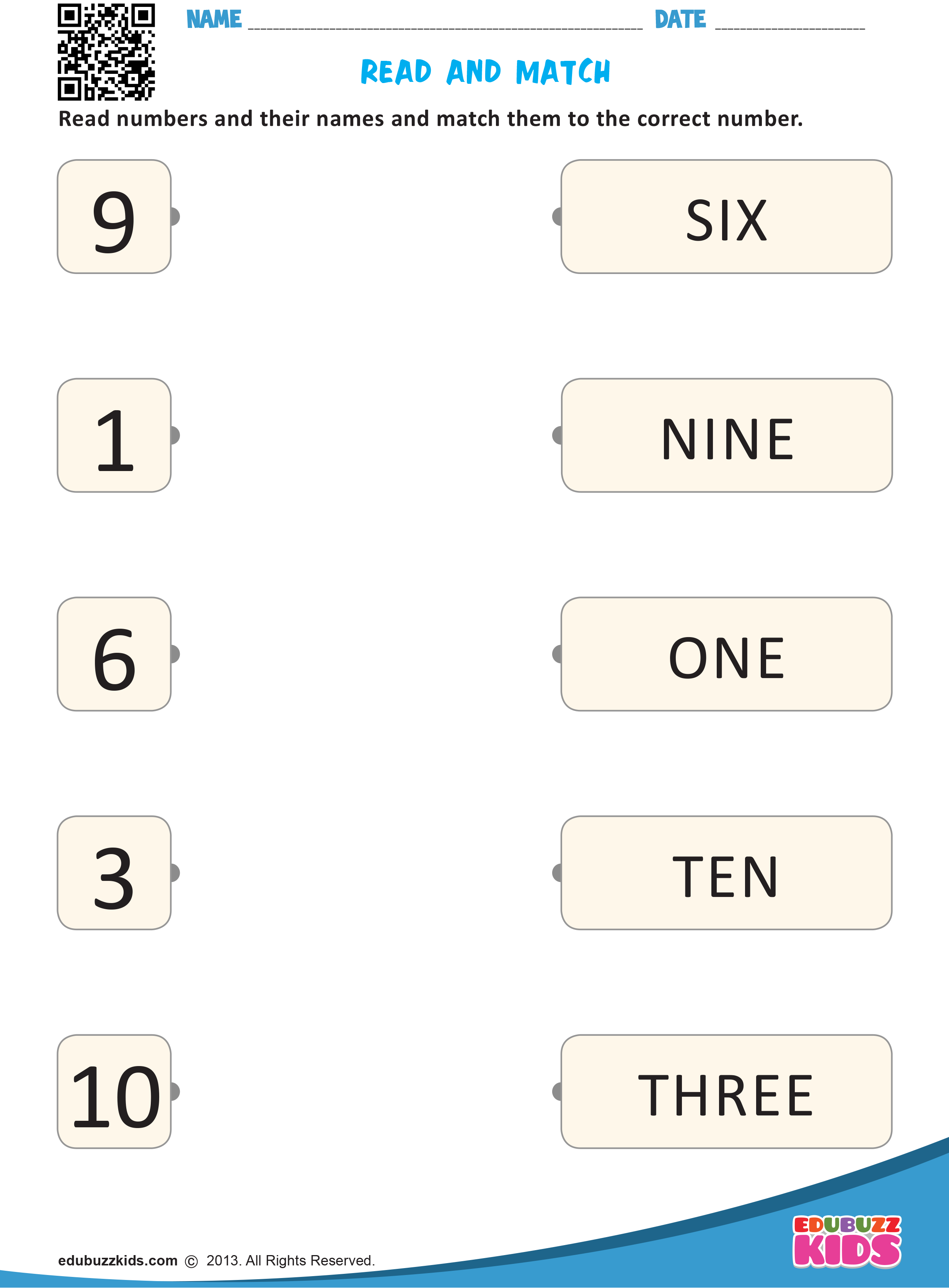 Kindergarten Math Match Numbers Worksheets Which Allow