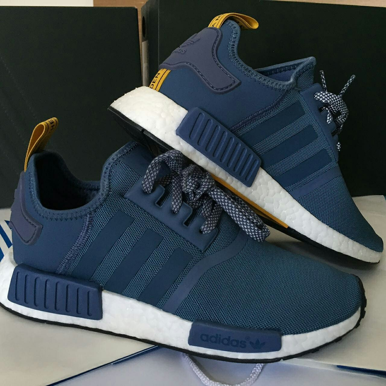 differently 0980a 48e44 Jual adidas NMD R1 blue with yellow size 40 1 3 Line  ekadharma 081288251825