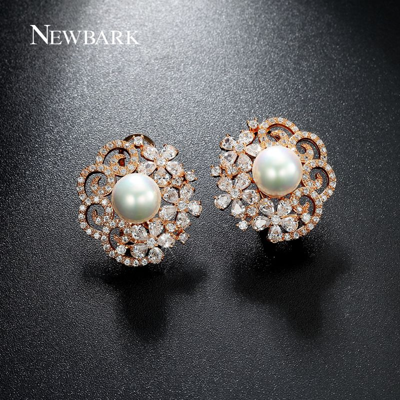 White Gold Plated Flower Shape Synthetic Pearl Women French Clip Stud Earrings