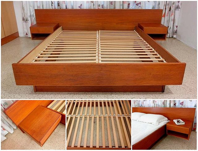 Teak Platform Bed With Floating Nightstands Furniture Pinterest