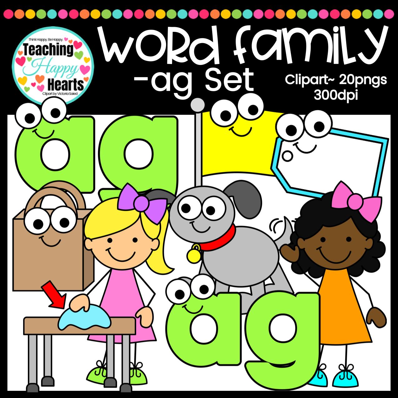 Short A Ag Word Family Clipart