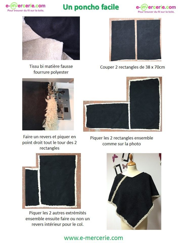 Tuto poncho | divers | Pinterest | Ponchos, Costura y Tricotar