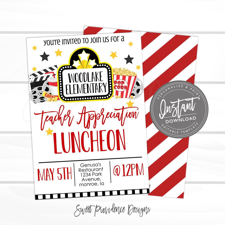 Editable Teacher Appreciation Luncheon Invitation Movie Teacher Staff Luncheon Invite Pto F Teacher Appreciation Luncheon Teacher Appreciation Teacher Treats