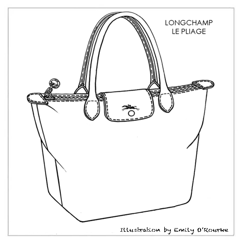 Longchamp Le Pliage Bag Designer Handbag Illustration Sketch Drawing Cad Borsa Disegno