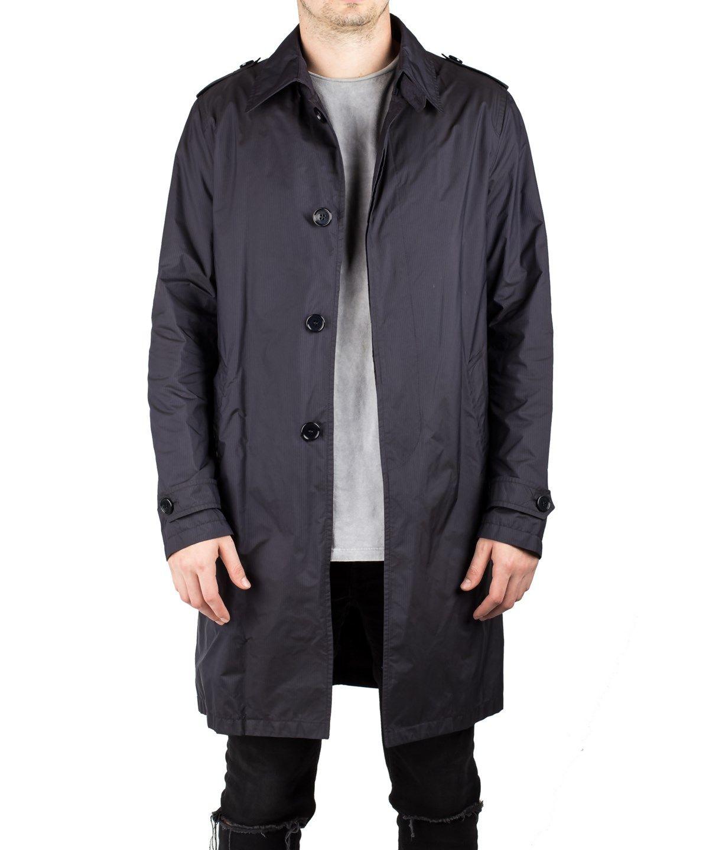 Prada Men S Polyamide Viscose Waterproof Trench Rain Coat Jacket Dark Navy In Blue Modesens Mens Raincoat Raincoat Jackets [ 1440 x 1200 Pixel ]