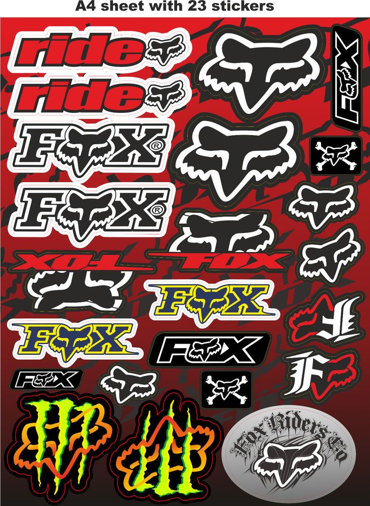 Fox Stickers Race Stickers Auto Decals Helmet Decal Motorcycle