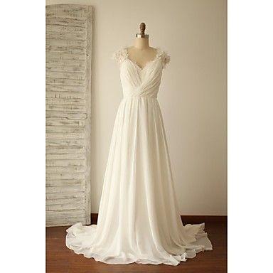 Vestido+de+Noiva-Linha+A+Decote+V+Cauda+Escova+Chiffon+/+Renda+–+BRL+R$+533,36