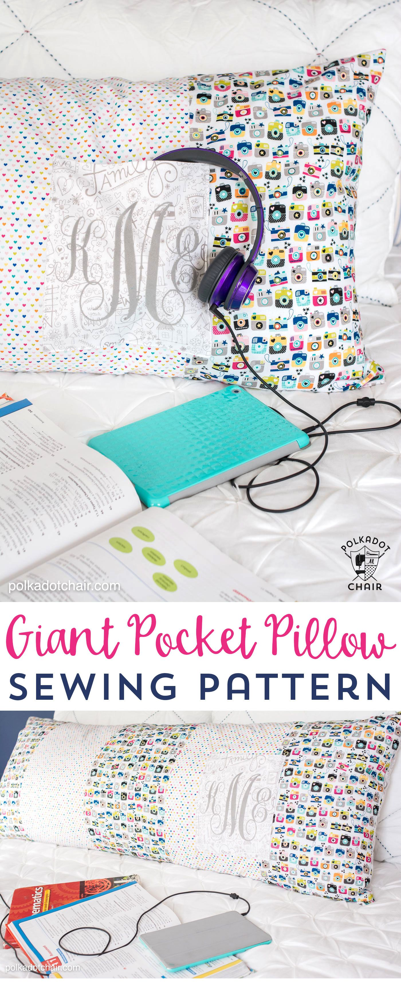 Free sewing pattern for a giant pocket pillow (fits on a standard body pillow form