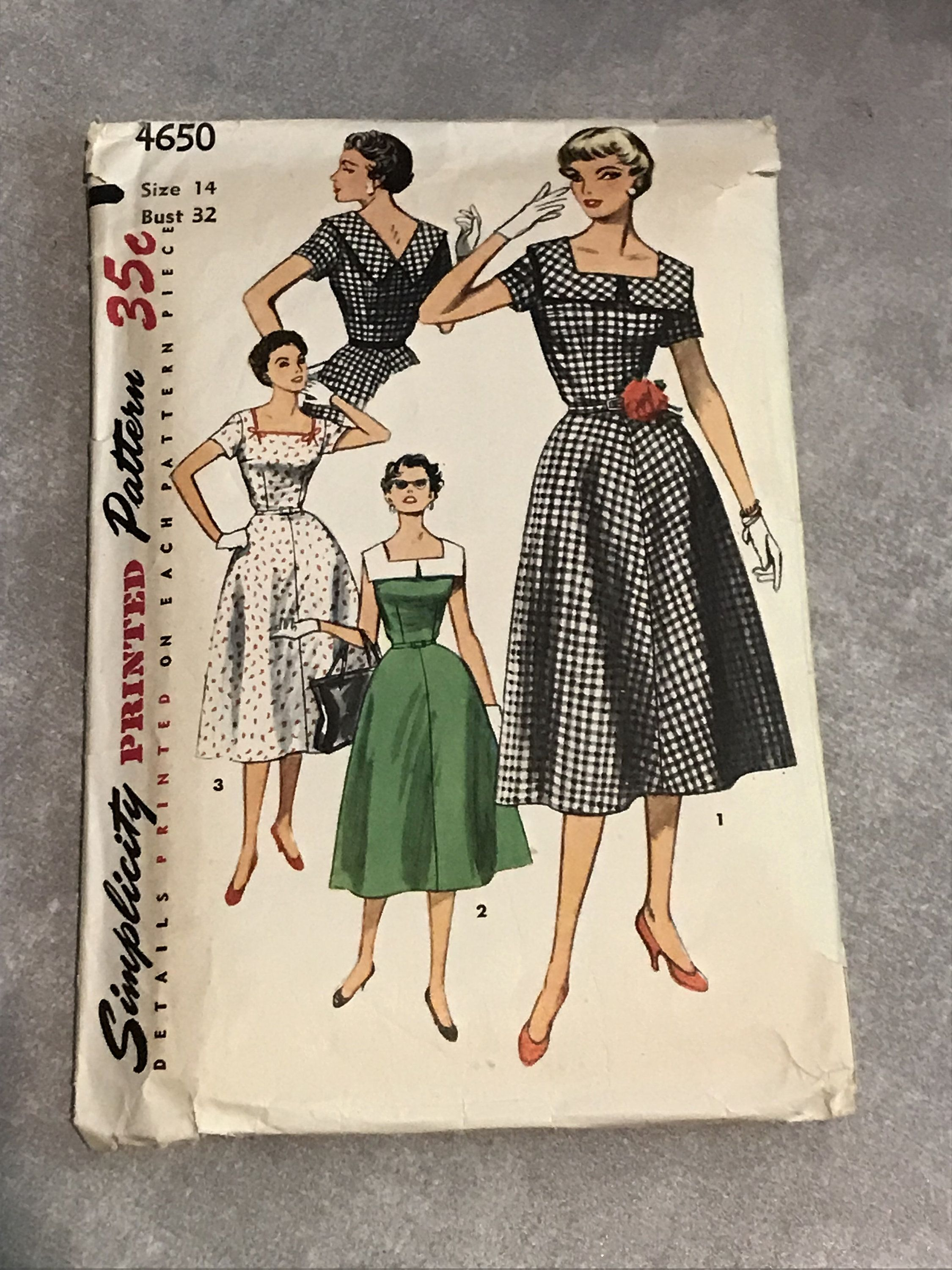 Simplicity 50S Sewing Pattern Vintage 1950S Dress With Square Neckline