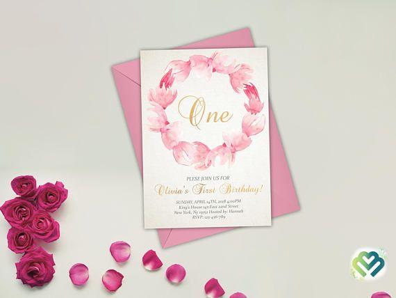 Girl 1st Birthday Invitation First Boho Floral One Invitati