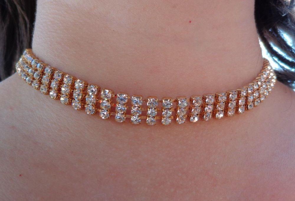 VINTAGE DESIGNER Austrian Rhinestone Choker Necklace PROM BRIDAL WEDDING JEWELRY #Unbranded #Choker