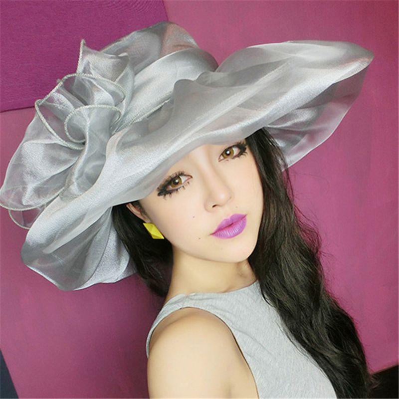 7e012759ad598  FLB  Elegant Fashion Women s Church Hats For Women Flower Hat Summer  Gorras Sun Hat Wedding Kentucky Derby Wide Brim Sea Beach-in Sun Hats from  Women s ...
