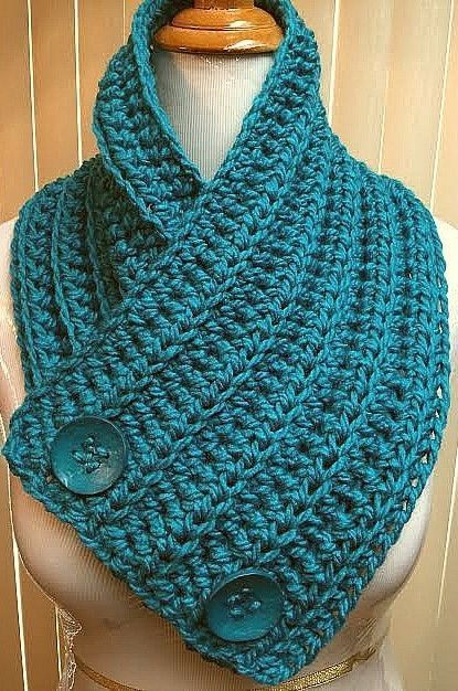 Neck Warmer Scarf Button Cowl Solid Teal Blue Acrylic Chunky