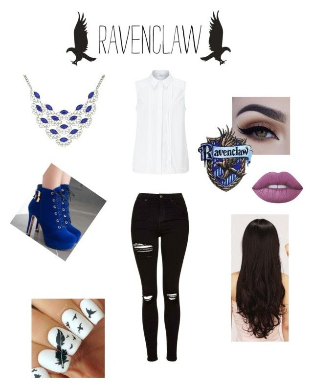 """""""Ravenclaw"""" by love-u-goodbye ❤ liked on Polyvore featuring Topshop, JY Shoes, John Lewis, 1928, Lime Crime and LeSalon"""
